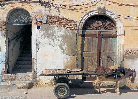 Tunesische Tür mit Esel